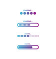 set loading icons colorful progress loading vector image