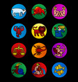 set of colorful circles with zodiac symbols on vector image