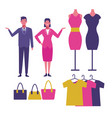 set of mall staff vector image