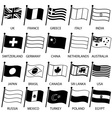simple curved flags of different country vector image vector image