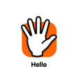 stop logo palm man turned towards viewer vector image
