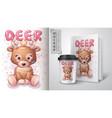 teddy deer poster and merchandising vector image