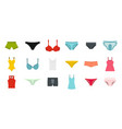 underwear icon set flat style vector image vector image