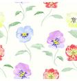 Watercolor flowers viola seamless pattern vector image