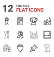 12 place icons vector image vector image