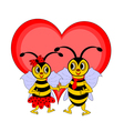 A couple of funny cartoon bees with a red heart vector image vector image