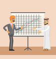 arabian and indian businessman near whiteboard vector image vector image