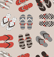 beach slippers colorful seamless background vector image vector image