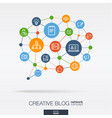 blogging integrated thin line icons in speech vector image vector image