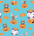 blue pumpkin friends seamless pattern vector image vector image