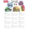 Calendar 2016Italy Landmarks panoramawatercolor vector image vector image
