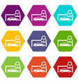 car and padlock icon set color hexahedron vector image vector image