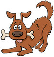 cartoon happy dog animal character with bone vector image vector image