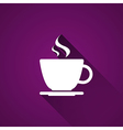Cup of coffee on purple background vector image