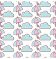 cute cloud weather and umbrella element background vector image