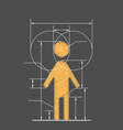 Drawing symbolized human resource isolated on gray vector image