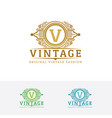 elegant fashion logo with letter v vector image vector image