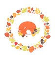 fox sleeping inside circular frame or wreath made vector image
