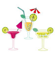 glasses with drinks and cocktails vector image vector image