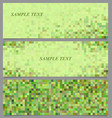 Green pixel square mosaic banner template set vector image vector image