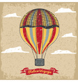 grunge vintage hot air balloon in sky vector image vector image