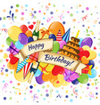 happy birthday cartoon colorful hand drawn vector image