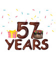 happy birthday fifty seven 57 year vector image vector image