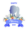 happy womans day bouquet flowers and ribbon vector image vector image