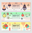 horizontal banners set memphis style geometric vector image vector image