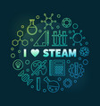 i love steam colorful circular outline vector image