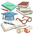 icons colored for students student cap vector image vector image