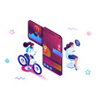 isometric concept woman makes a delivery through vector image