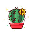 line color icons cactus vector image