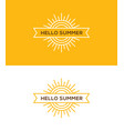 linear sun logo emblem or label design vector image vector image