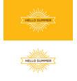 linear sun logo emblem or label design vector image