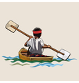 man in a canoe with paddle bilateral vector image vector image