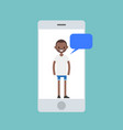 mobile concept young black man chatting on the vector image