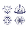 nautical or marine symbols and fish isolated vector image vector image