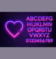 neon alphabet with heart on brick wall background vector image