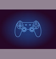 neon icon of blue joystick vector image