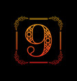 number 9 with ornament vector image vector image
