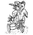 Panda on Motorcycle Sketch vector image