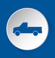 pickup with a flatbed - blue icon on white button vector image