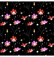 Pink flowers seamless pattern on black background vector image vector image