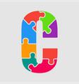 puzzle jigsaw letter - c puzzle pieces vector image