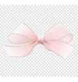 realistic pink transparent bow with gold border vector image