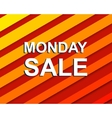 Red striped sale poster with MONDAY SALE text vector image vector image