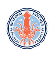 seafood kitchen round emblem with squid vector image vector image