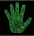 silhouette of a man hand with a high-tech computer vector image vector image