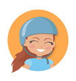 smiling girl in blue helmet simple cartoon style vector image